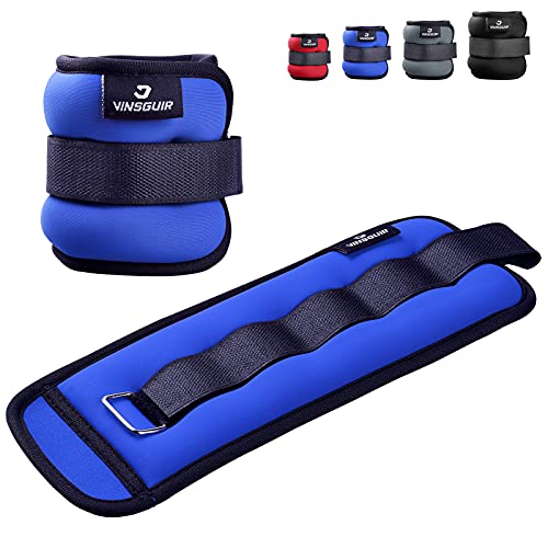 Vinsguir Ankle Weights for Exercises, 1 Pair Set 1 2 3 5 Lbs Leg & Arm Weight Straps for Women Men Kids, Strength Training Wrist and Adjustable Ankle Weights Sets for Gym Fitness (2)