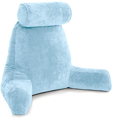 Husband Pillow XXL Sky Blue Backrest with Arms - Adult Reading Pillow Shredded Memory Foam, Ultra-Comfy Removable Microplush Cover, Detachable Neck Roll, Unmatched Support for Bed Rest Sit Up Pillow