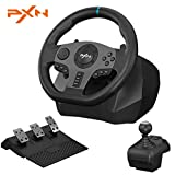 PXN V9 Gaming Steering Wheels, 270/900° Driving Sim Racing Wheel, PC Steering Wheel Dual-Motor Vibrate with Pedals and Joystick ,for Xbox Series X|S/PS3/PS4/PC/Xbox One/Nintendo Switch