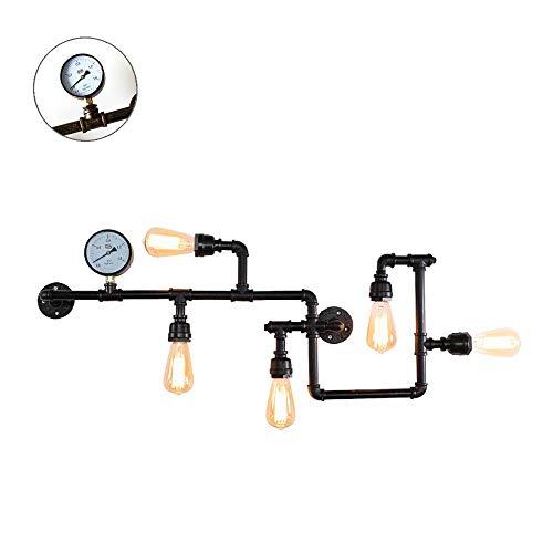 ZRWZZ schild slang wandlamp, industriële retro E27 lampenkop wandlamp, binnen- en buitenverlichting, decoratie, wandlamp, 60 W hoog vermogen, smeedijzer, kleur lamp wandlamp