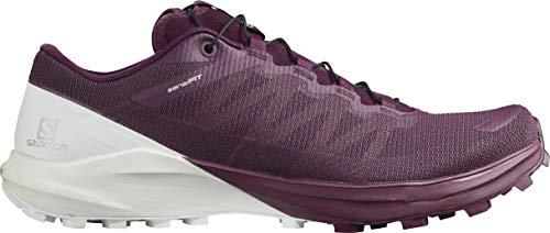 SALOMON Sense 4 W/Pro, Zapatillas de Trail Running Mujer, Plum Caspia/White/Persimon, 41 1/3 EU