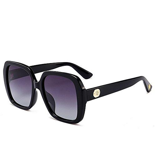 Gafas de sol polarizadas de gran tamaño, forma cuadrada, protección UV, para mujeres, hombres, conducción, vacaciones, verano, playa, uso diario (color: negro)