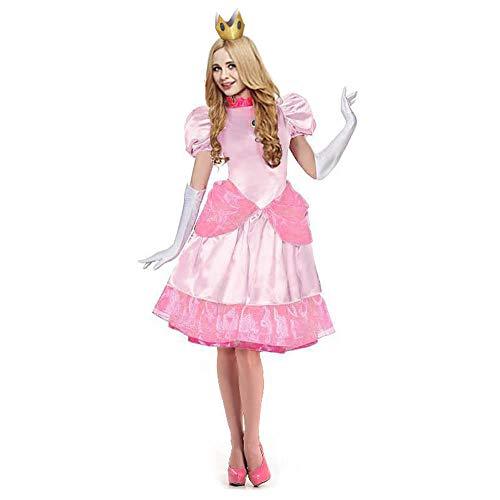 Disfraz de Princesa para Mujer, Vestido de Fiesta Elegante para niñas Adultas, Disfraz de Carnaval de Princesa Peach-Rosado_Metro