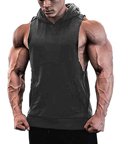 JINIDU Men's Workout Hooded Tank Tops Sleeveless Gym Hoodies with Pockets