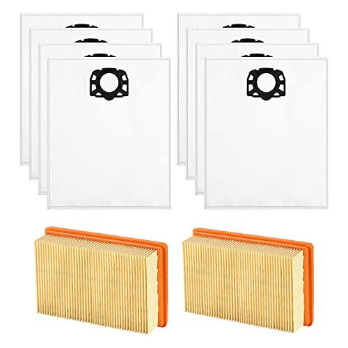 Isincer WD4 Bolsa de repuesto Compatible con aspiradoras en seco y húmedo Karcher MV4 MV5 MV6 WD4 WD5 WD6, paquete de 2 filtros + paquete de 8 bolsas para aspiradora