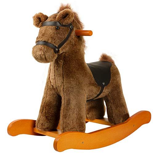 Labebe Baby Rocking Horse Wood, Knight Style Rocking Horse felpa para bebé 1-9 años, Swing Baby/Swing Horse/Columpio de interior y jardín/Rocking Horse Marrón/Rocking Horse/Rocking Horse Antique