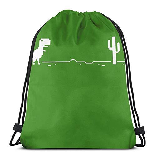 Almost-Okay-Shop Dino Game - Bolsa de viaje con cordón, color verde