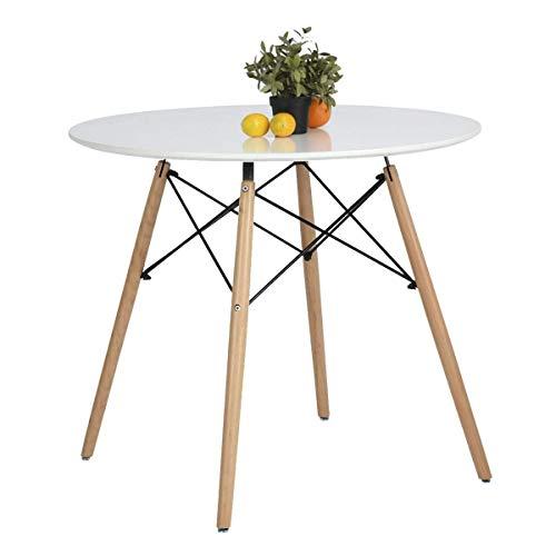 Coavas Tavolo da Pranzo Rotondo Piccolo tavolino Moderno in Legno Tavolo da tè Solido Tavolo da Bar Bianco Crema