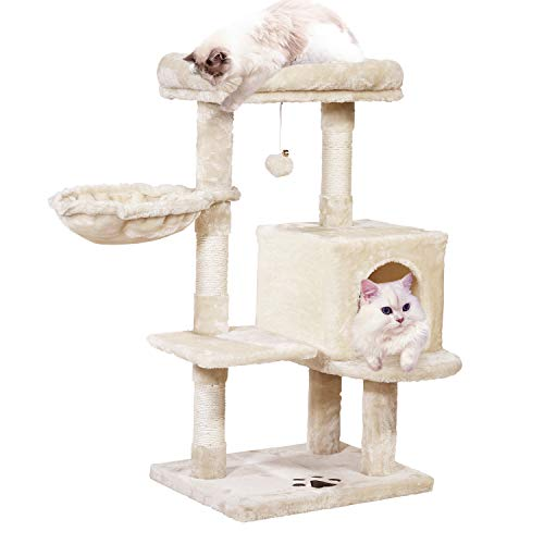 MQ MultiLevel Cat Tree Condo Activity Center Cat Tower Furniture 36#039#039 with SisalCovered Scratching Posts Padded Plush Perch Spacious Cat Cave amp Basket for Small Kittens Adult Cats Beige