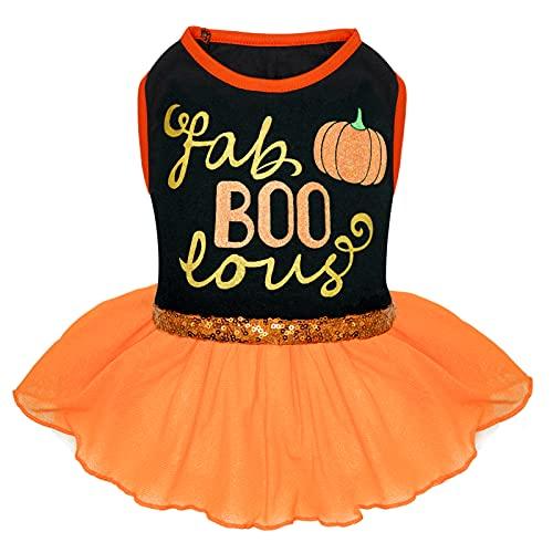 cyeollo Halloween Dog Dress Doggie Holiday Party Outfits Pumpkin Fab Boo Lous Dog Skirts Orange Size XL