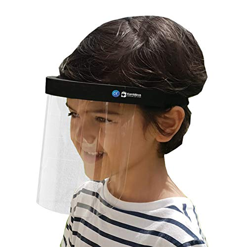 Pantalla facial Niños – Visera de cara completa 1 Unidad – Pantalla de protección facial ajustable anti vahó para gotas, humo, saliva – Máscara de visera de plástico transparente