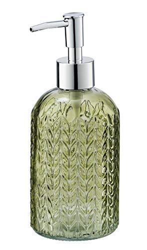 WENKO Seifenspender Vetro rund - Flüssigseifen-Spender, Spülmittel-Spender Fassungsvermögen: 0,40 l, Glas, 8,5 x 19 x 7,5 cm, grün