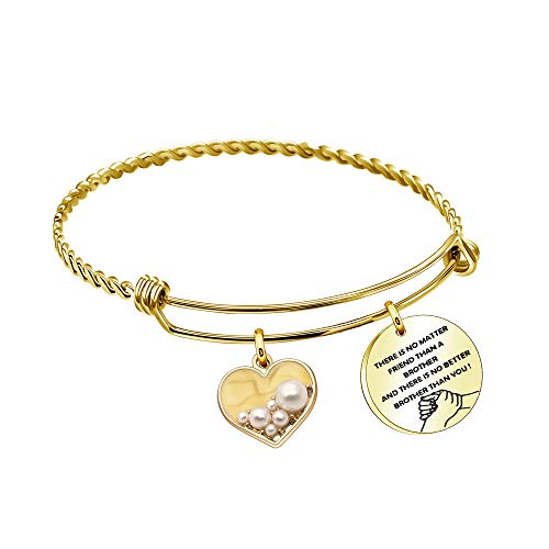 Coagurmes - Pulsera para hermano con texto 'There is No Matter Friend Than a Brother and There No Better Brother Than You Family Twist