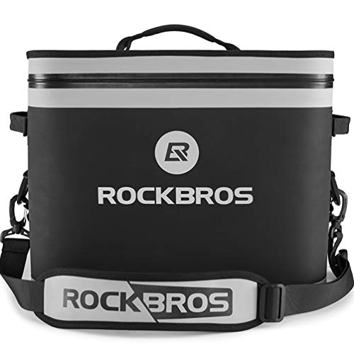 ROCKBROS Soft Cooler 30 Can Insulated Leak Proof Soft Pack Coolers Waterproof Soft Sided Cooler Bag for Camping, Fishing, Road Beach Trip, Golf, Picnics Black