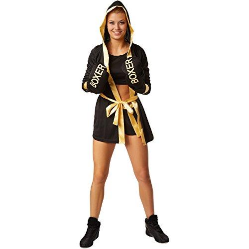 dressforfun Frauenkostüm Boxerkostüm mit Short, Top, Mantel mit Kapuze, Gürtel und Boxhandschuhen (M | Gold | no. 301820)