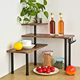 BCOZLUX Kitchen Countertop Organizer, 3 Tier Corner Shelf for Space Saving, Bathroom Counter Storage Shelf, Spice Rack with Hooks, Industrial Style, Stable Metal Frame, Easy Assembly, Rustic Brown