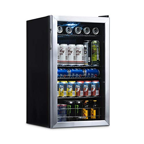 NewAir Beverage Cooler and Refrigerator, Mini Fridge with Glass Door, Perfect for Soda Beer or Wine, 126-Can Capacity, AB-1200, Stainless Steel