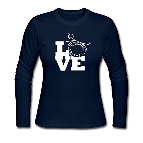 Love Occupational Therapy Women's Long Sleeve Jersey T-Shirt, S, Navy