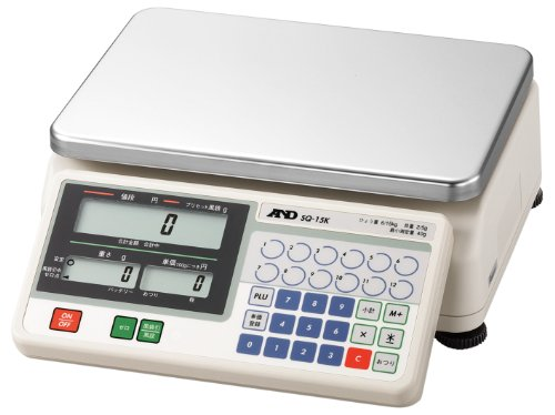 A&D 検定付き店舗用料金はかり SQ-15K ≪ひょう量:15000g 最小表示:2~5g(使用範囲:40~15000g) 皿寸法:300(W)*210(D)mm 検定付:6地域≫