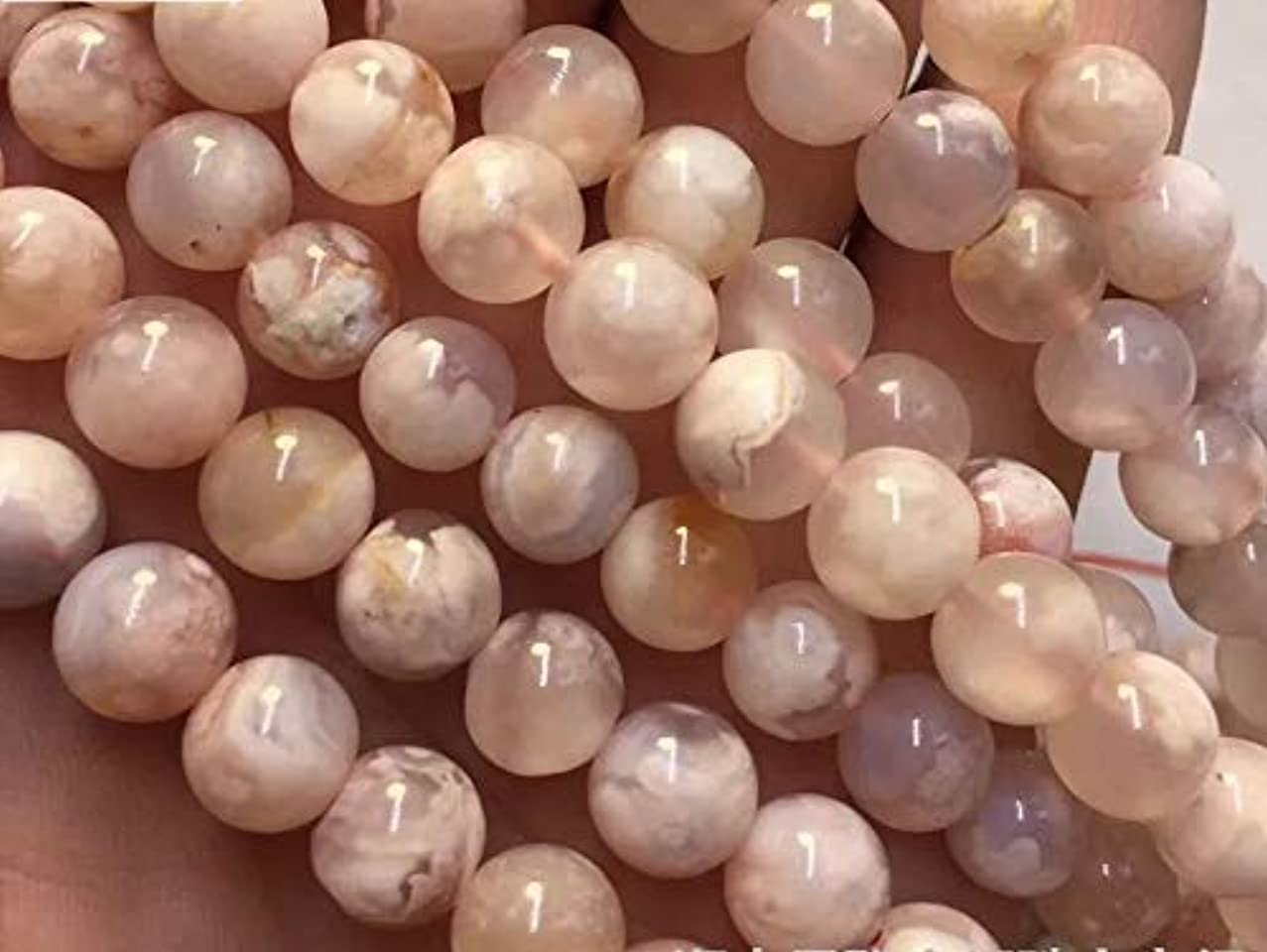 [ABCgems] Madagascan Sakura Agate AKA Cherry Blossom Agate (Beautiful Inclusions) Tiny 6mm Smooth Round Beads for Beading & Jewelry Making