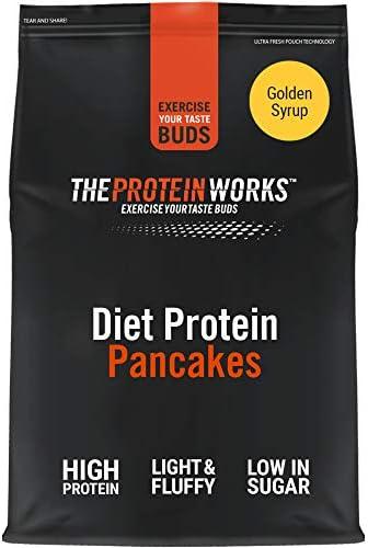 Mix Pancake Proteico Dietético | Alto en Proteínas, Snack Bajo en Azúcar | Rápido y Fácil de Hacer | THE PROTEIN WORKS | Sirope Dorado | 1kg