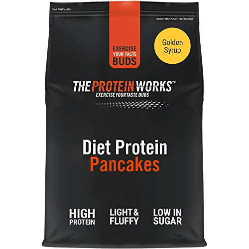 THE PROTEIN WORKS Diet Protein Pancake Mix | High Protein, Low Sugar Snack | Quick & Easy To Make | Golden Syrup | 1 Kg