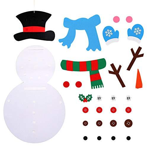 BAIBEI 28Pcs Nieve De La Navidad DIY Fieltro, Navidad Decoraciones De Pared Colgante Juego De Navidad Colgante De Pared De Juegos para Niños, Fieltro Muñeco de Nieve de Navidad