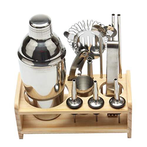 NXYJD Juego de 12 cocteleras de acero inoxidable que incluye colador de bebidas, abridor de botellas, mezclador, accesorios para herramientas de vino (color: 12 piezas de 350 ml)
