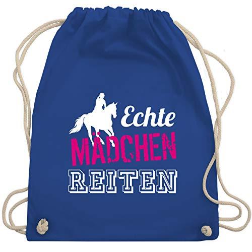 Shirtracer Pferde & Reiten Kind - Echte Mädchen reiten - Unisize - Royalblau - reitsport kinder - WM110 - Turnbeutel und Stoffbeutel aus Baumwolle