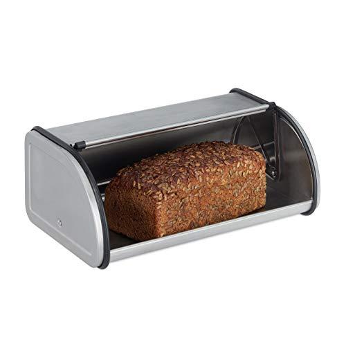 Relaxdays 10023832, zilveren broodtrommel roestvrij staal, kleine broodtrommel, brood vers houden, plat en plaatsbesparend, gemakkelijk te reinigen