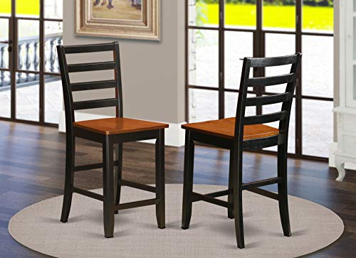 East West Furniture FAS-BLK-W Dining Chairs, Wooden Seat, Black/Cherry Finish