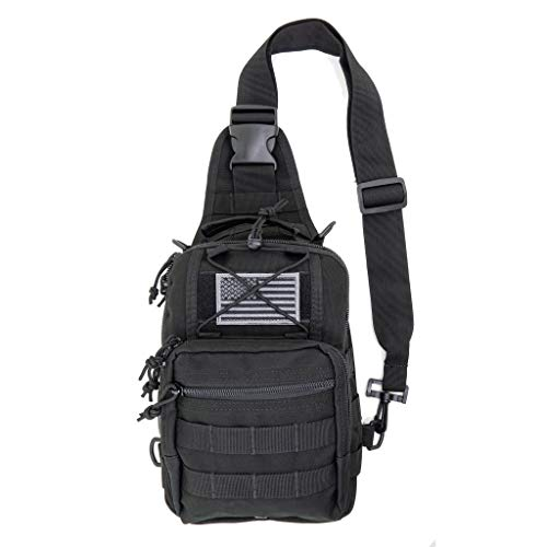 LINE2design First Aid Sling Backpack - EMS Equipment Emergency Medical Supplies Tactical Range Shoulder Molle Bag - Heavy Duty Sports Outdoor Rescue Pack - Perfect for Camping Hiking Trekking - Black
