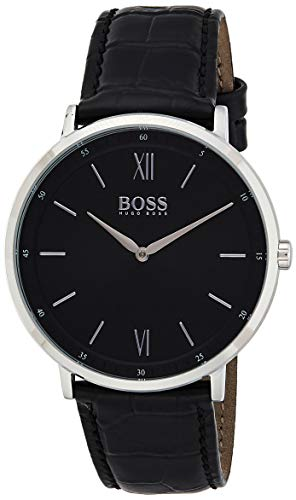 Hugo Boss Herren Analog Quarz Uhr mit Leder Armband 1513647