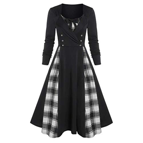 Xuthuly Frauen-Weinlese-Plaid-Patchwork-Imitat Twinset Midi-Kleid-Damen-Elegantes süßes Bowknot gefaltetes A-line-Abschlussball-Party-Kleid