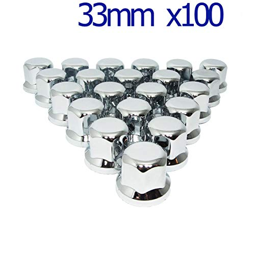 MGF 100 Stück 33 mm Chrom-Kunststoff-Radmutterkappen für LKW, Anhänger