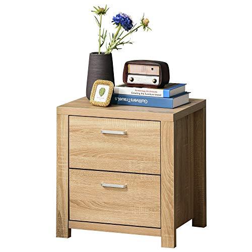 HOMCOM Nachttisch mit 2 Schubladen Nachtschrank mit Kippschutz moderner Nachtkommode Natur 48 x 39 x 52 cm
