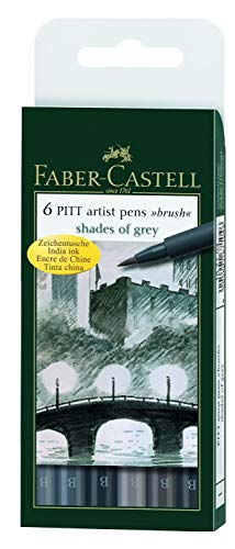 Faber-Castell 167104 - Tuschestift PITT artist pen brush -Shades of grey- 6er Packung