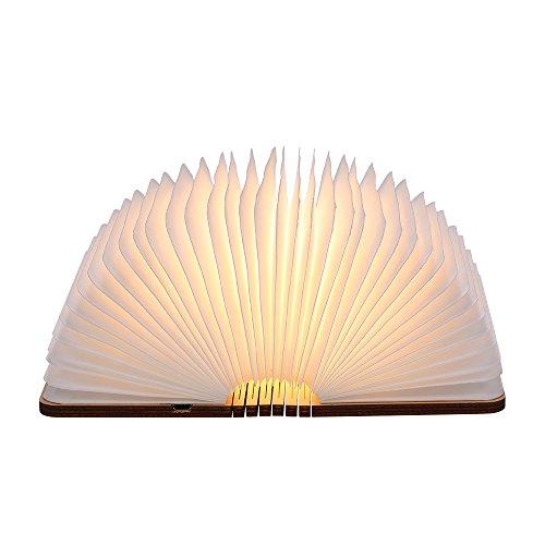 Livre Lampe, Tomshine Livre Lampe Pliante et Magnétique 500 Lumens Lampe Led Livre Rechargeable USB Port Livre lumineux bois Blanc chaud 12.1 * 9.5 * 2.5cm