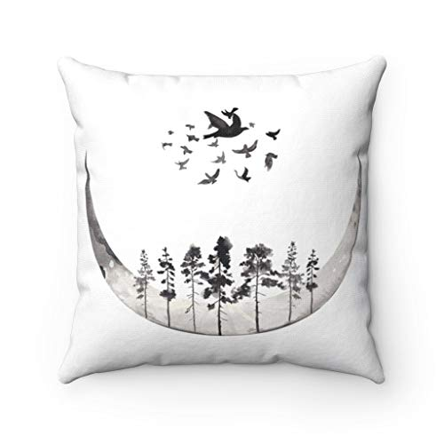 Promini Throw Pillow Cover, Celestial Moon, Forest Birds, Abstract Art Watercolor, Landscape Cosmic Modern Square Decorative Accent Pillow Case Cushion Pillowcase for Sofa Home Decor 24 x 24 Inches