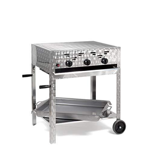 LAG Gasgrill-Kombibräter 11 kW fahrbar mit Grillrost und Stahlpfanne 3-flammig Gasgrill Grill Gastrobräter Profigrill Verein