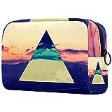 Bolsa Maquillaje Almacenamiento organización Artículos tocador cosméticos Estuche portátil Papel Pintado del triángulo del Color invertido de la Puesta del Sol para Viajes Aire Libre