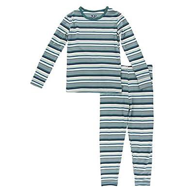 KicKee Pants Print Long Sleeve Pajama Set (Multi Agriculture Stripe - 4T)