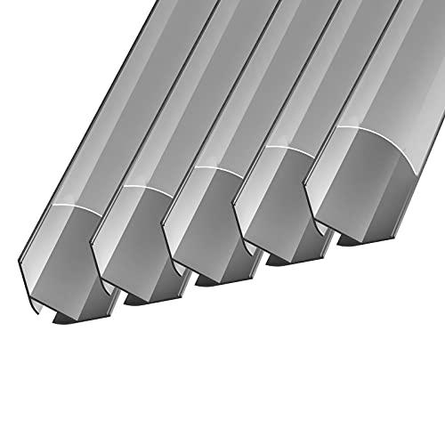 Perfil de aluminio LED Nito (NI) | 2 metros | anodizado | Perfil de esquina interior para iluminación LED (5 x 2 m)