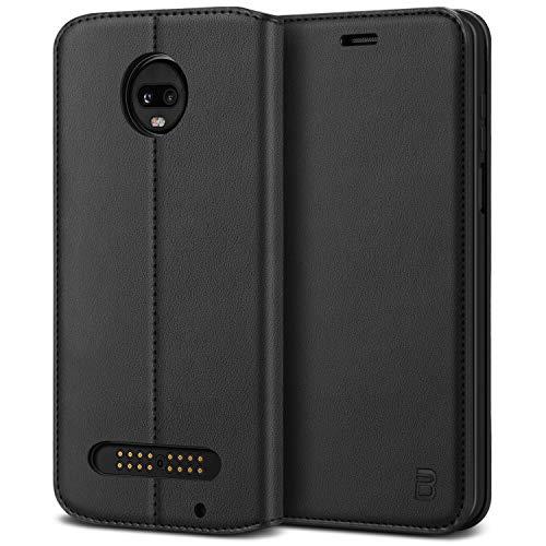 BEZ Moto Z3 PlayHülle, Handyhülle Motorola Moto Z3 PlayTasche, Flip Hülle Cover Schutzhüllen aus Klappetui mit Kreditkartenhaltern, Ständer, Magnetverschluss, Schwarz