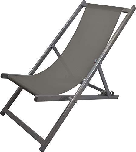 MATEXA Chilienne Confort anti UV en aluminium Chaise pliante d'extérieur fauteuil de terrasse (Gris)
