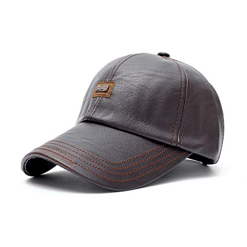 Adult hat autumn and winter iron label decoration PU leather baseball cap sports fashion casual outdoor cap