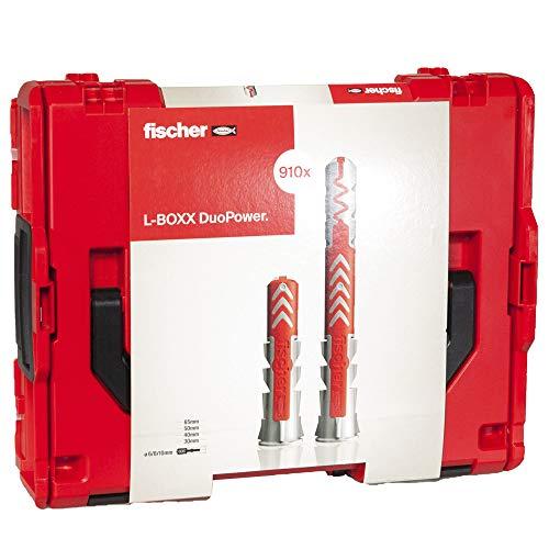 fischer - DuoLine L-Boxx Dübel Sortimentskasten DuoPower, DuoTec und DuoBlade Dübel für Gipskarton, Ziegel, Beton Ø 6, 8, 10, schlagfeste und stapelbare Box 910 Stück