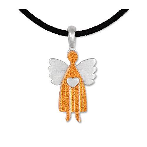 Anhänger Schutzengel Engel Kettenanhänger Silberschmuck Wolkenengel gelb small, Band, Schachtel