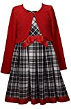 Bonnie Jean Holiday Plaid Dress with Red Sweater Cardigan for Infant, Toddler, Little and Big Girls (18 Months)
