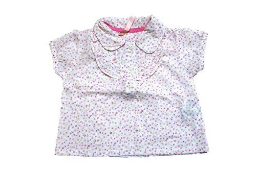 Onbekend blouse met korte mouwen roze met strooibloemen, maat 3-6 maanden.